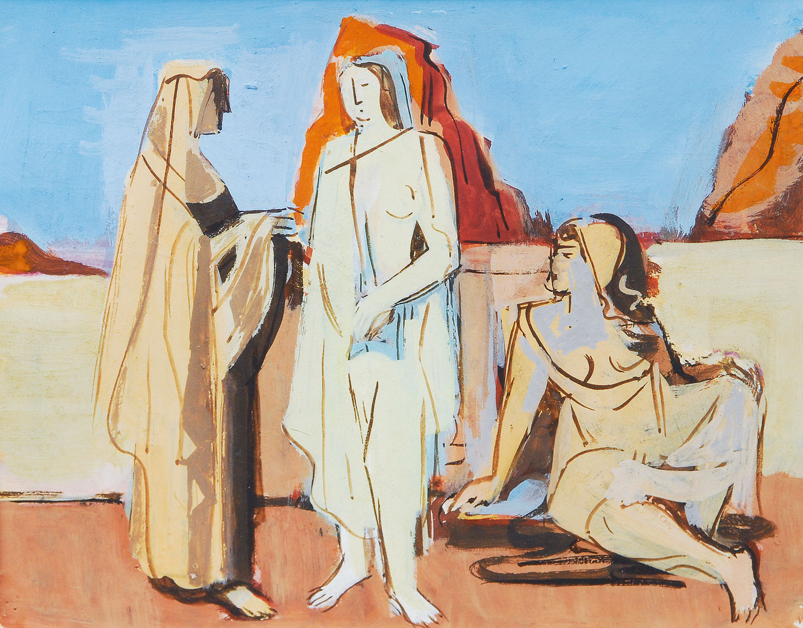 Three women in a mediteranian landscape