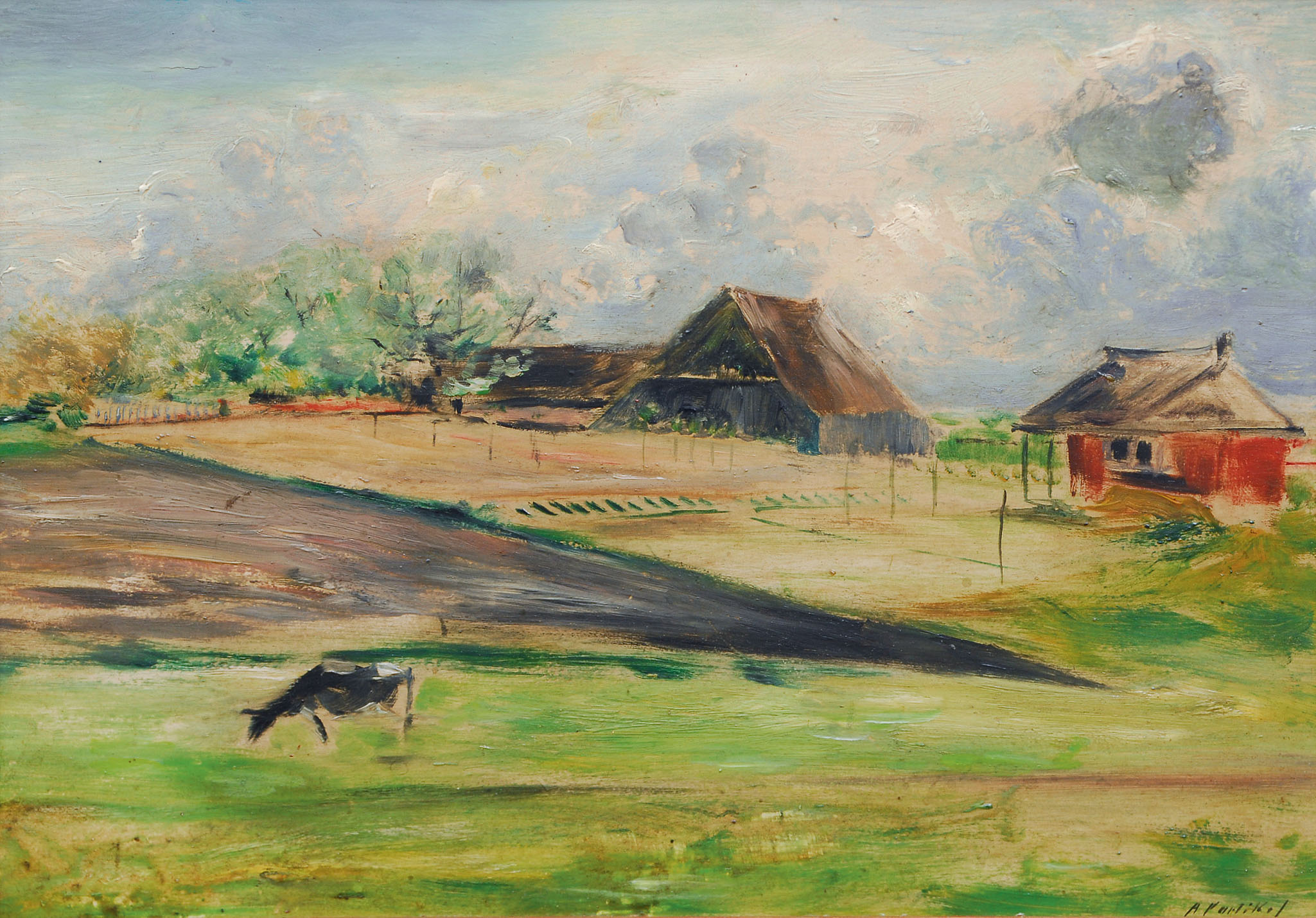 Landscape with farmhouses