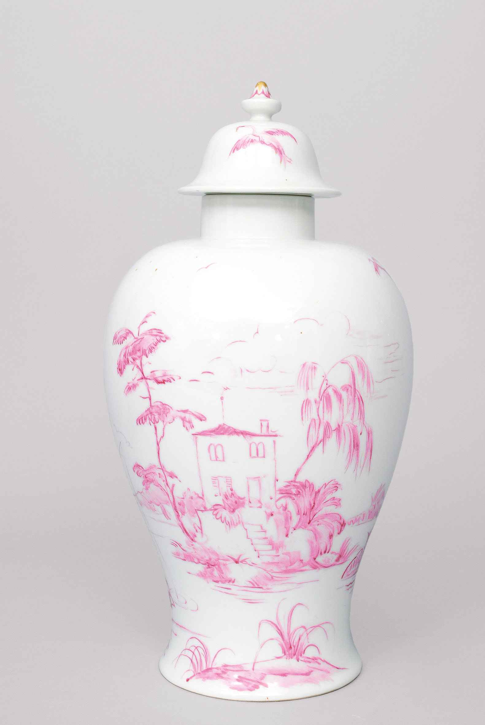 Vase with cover and landscape in purpur