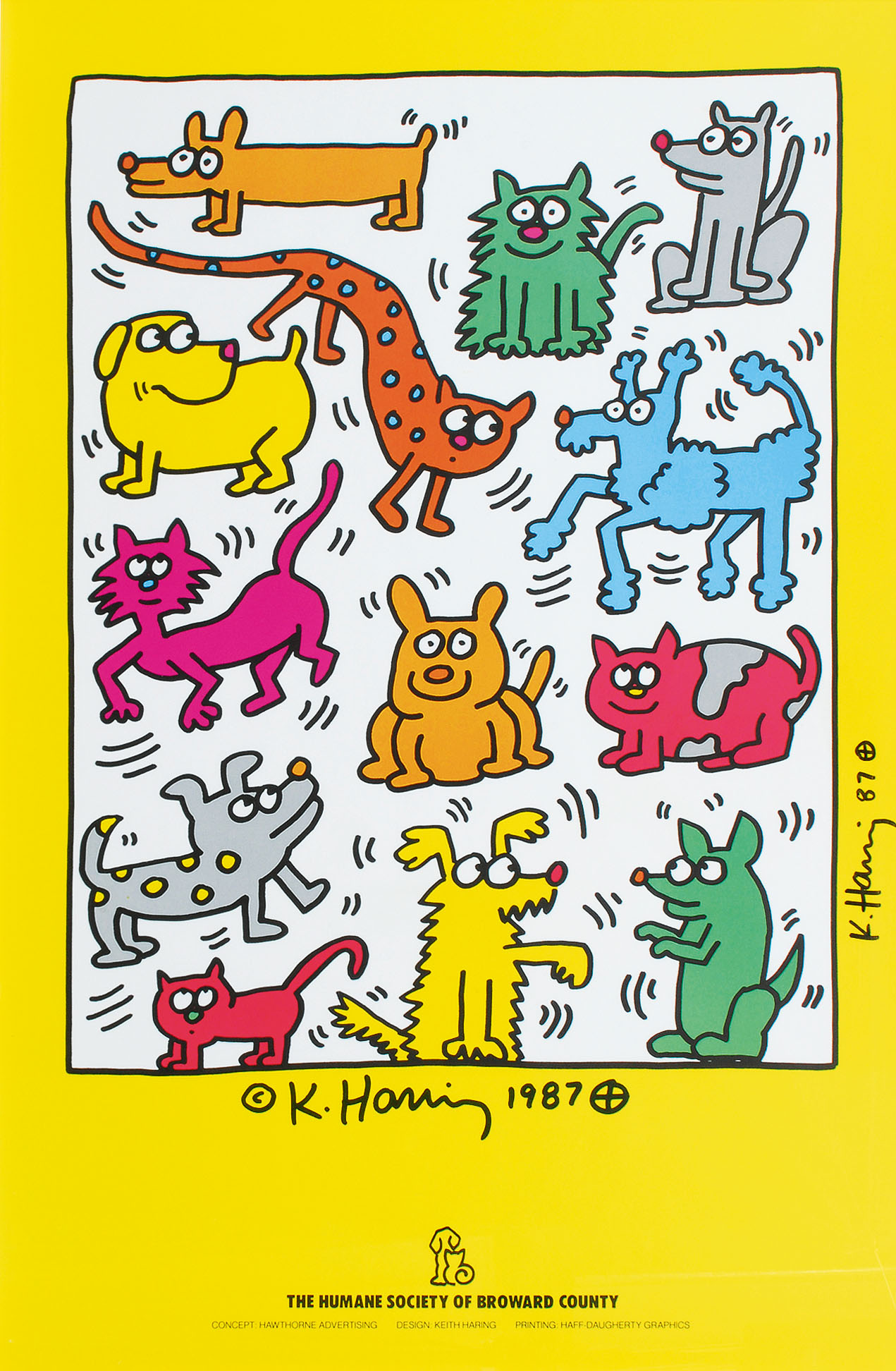Handsigniertes Plakat: The Humane Society of Broward County 1987