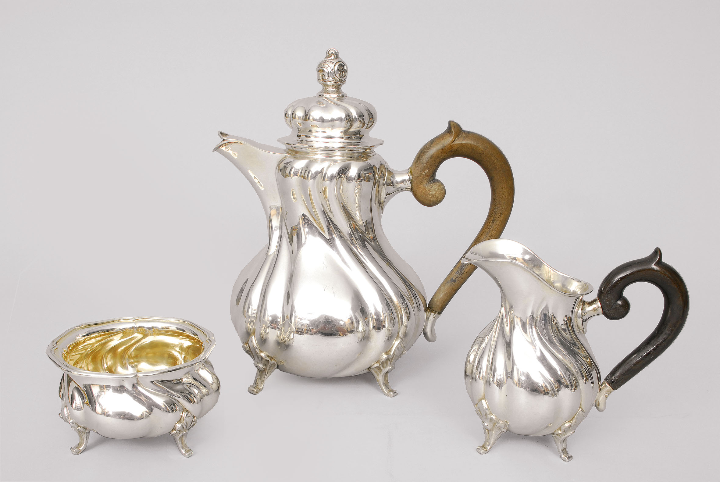 A coffee service in the style of 'Chippendale'