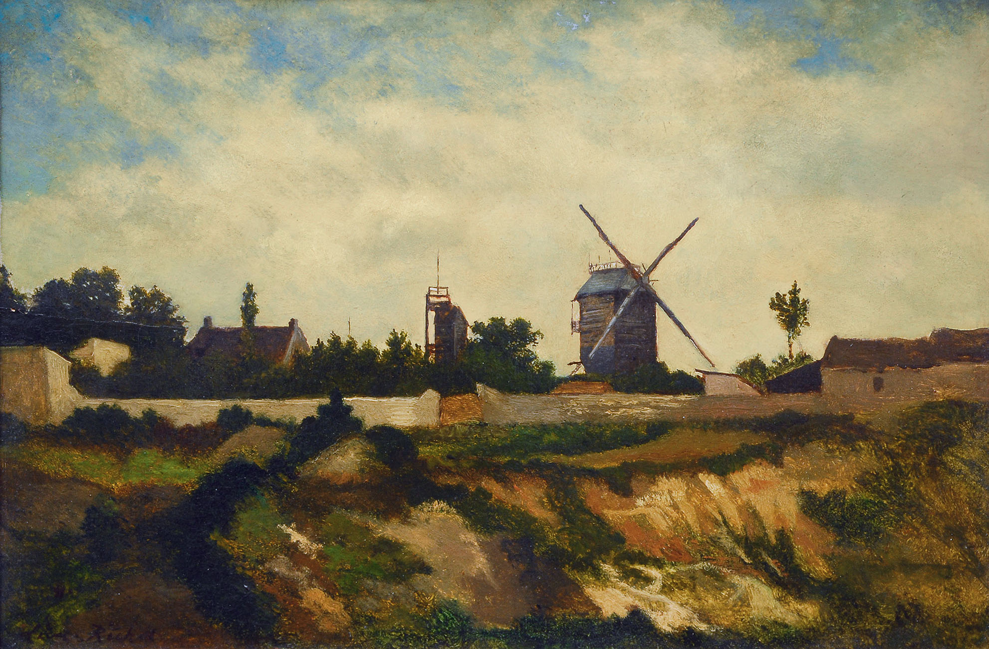 Landscape with windmill and houses