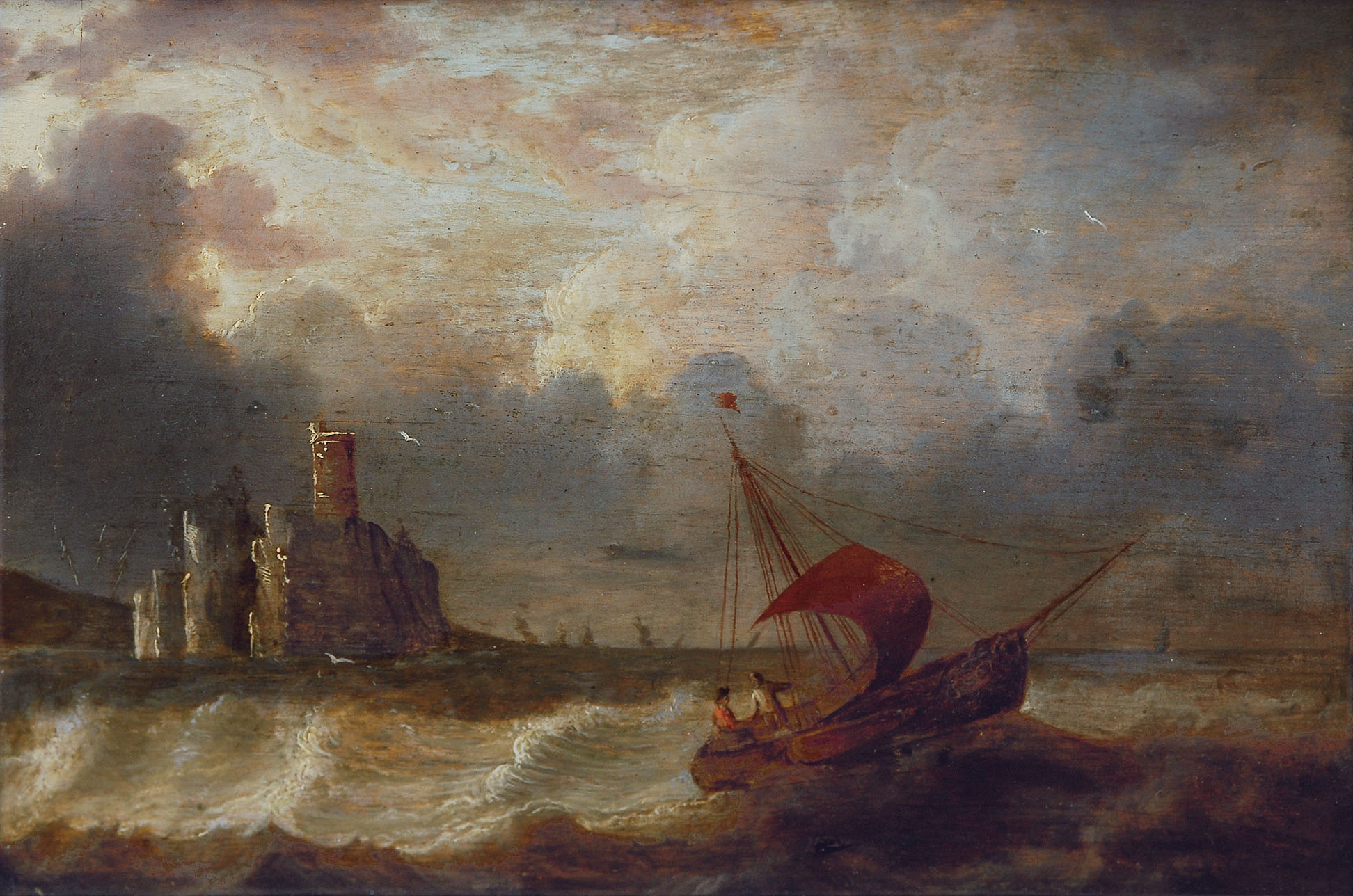 Coastel scene with a sailing boat in a stormy sea