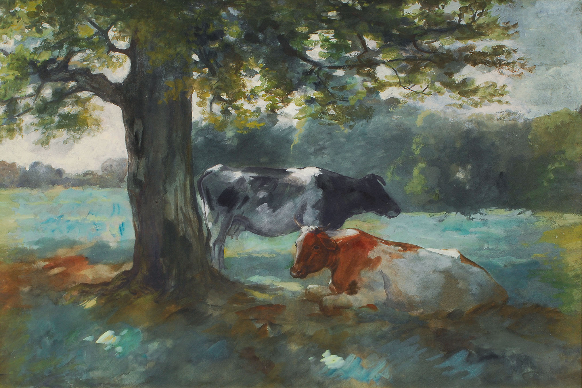 Cattle under a tree