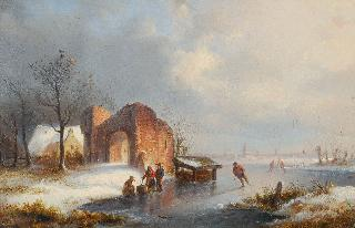 Winter landscape with skaters on a frozen river