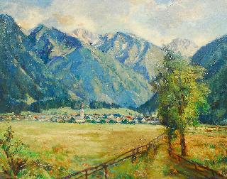 Landscape with a village in the Bavarian Alps