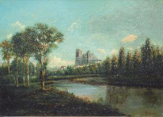River landscape with cathedral