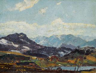 A pair of paintings: 'Chiemgau-Tinninger See'/'Winter Landscape'