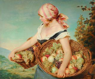 Girl with two fruit baskets