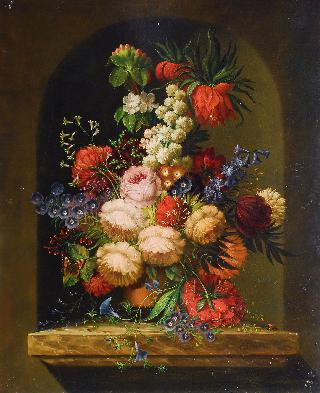 Still life with flowers on a marble plinth