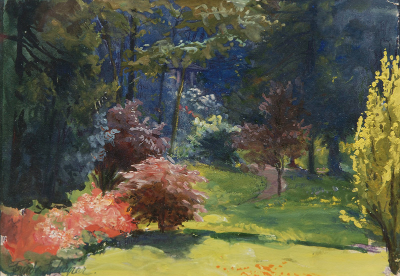 Park Landscape with Bushes in Bloom