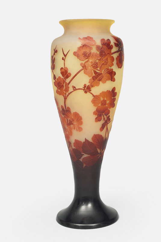 A cameo vase with cherry blossoms