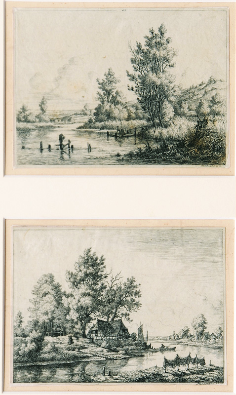 "A Pair of Etchings ""Sight of the Elbe near Hamburg"""