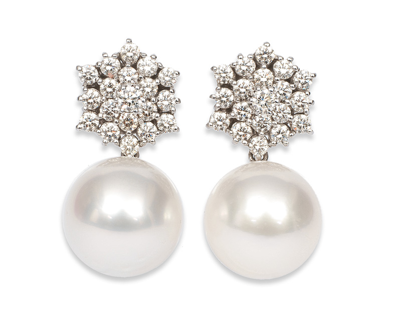 A pair of Southsea pearl daimond ear studs