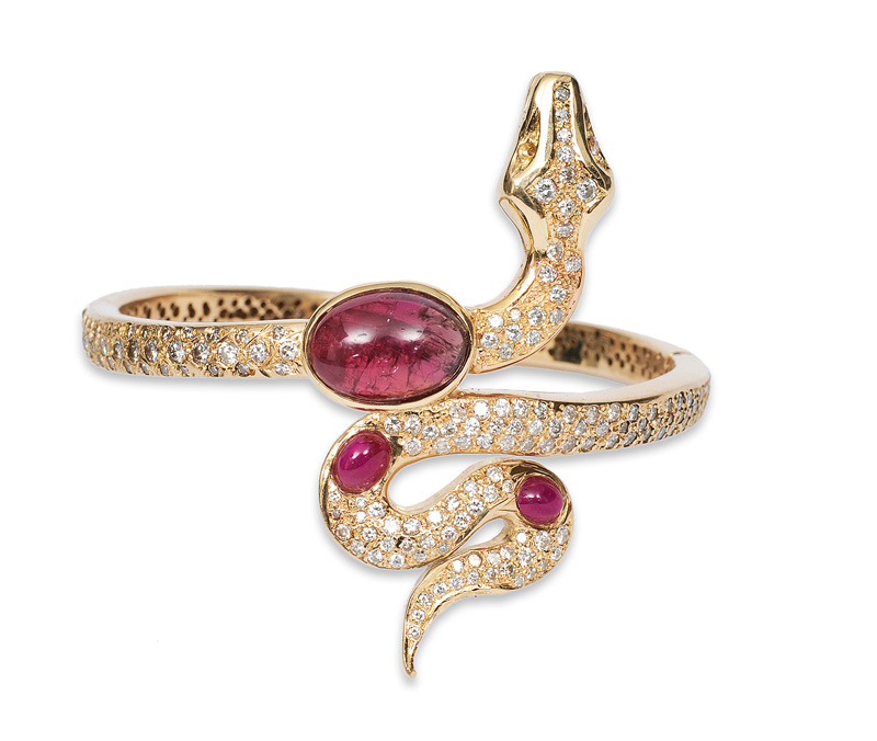 "An extraordinary diamond ruby bangle bracelet ""Snake"""