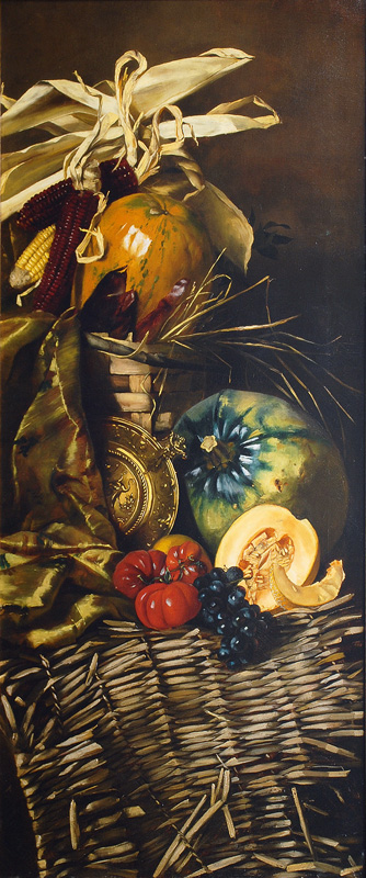 A Pair of Still Lifes - Opulent Arrangements with Field Crops