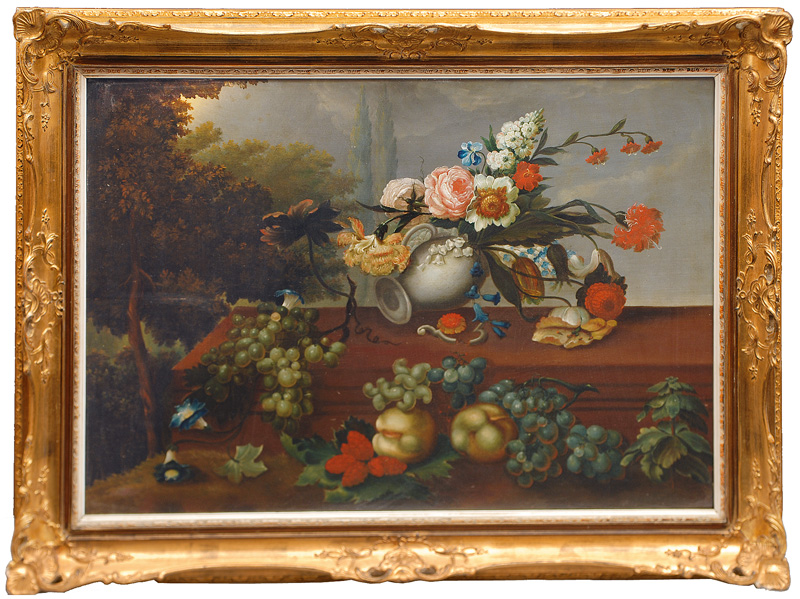 Fruit and Flowers in front of a Park Landscape