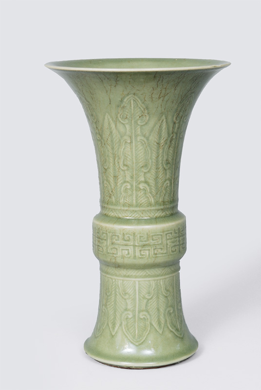 A big seladon vase with lotus decoration in style of Ming dynasty