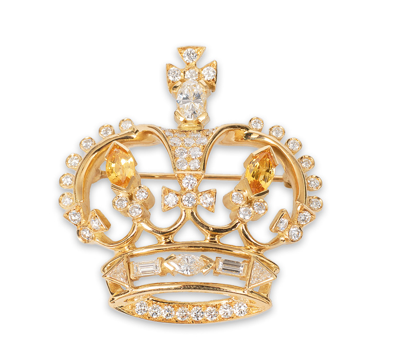 An extraordinary brooch in crown shape with diamonds and citrines