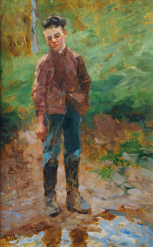 Boy at the Edge of a Pond