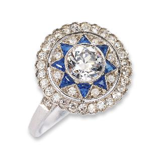 An Art-déco diamond ring with small sapphires
