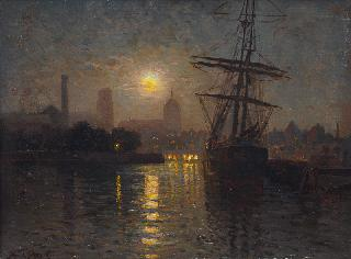 The Harbour of Danzig at Fullmoon