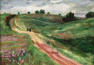 Two Girls in a Landscape of Schleswig-Holstein