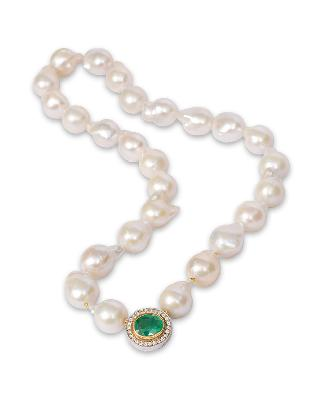 A Baroque Southsea pearl necklace with an emerald diamond clasp