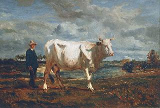 Man with a White Cow