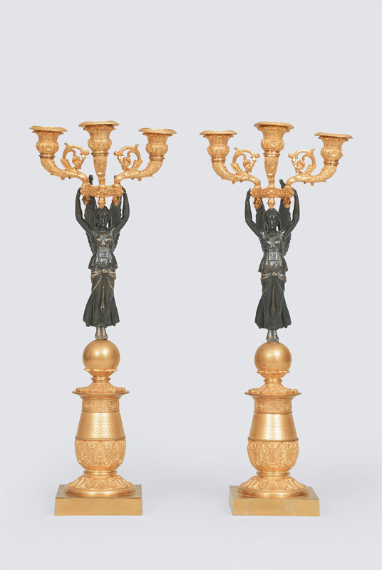 A pair of candelabra in empire style