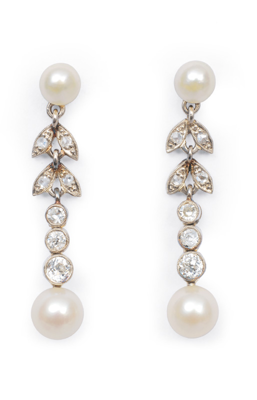 A pair of Art Nouveau earpendants with old cut diamonds and pearls