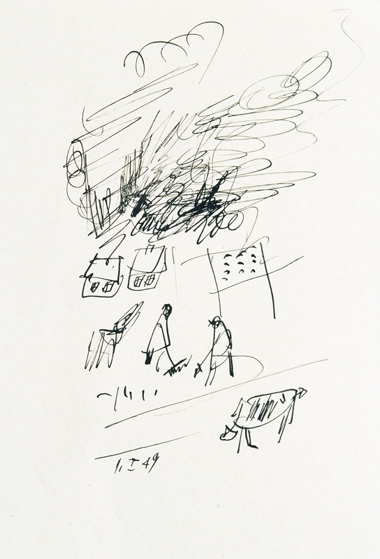 Pair of Drawings: The Concert  - In the Field