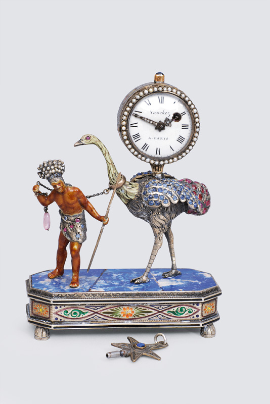 An extraordinary, small Louis-Seize table clock with ostrich and Native Indian f
