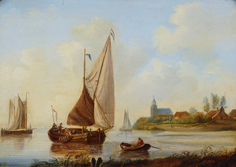 Pair of Paintings: Ships at the Dutch Coast