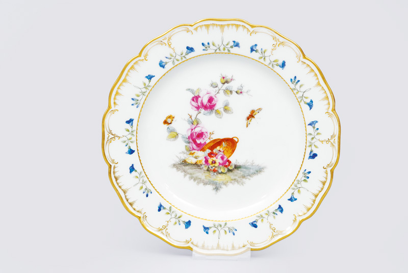 A plate with flower painting from the possession of the German emperor Wilhelm I