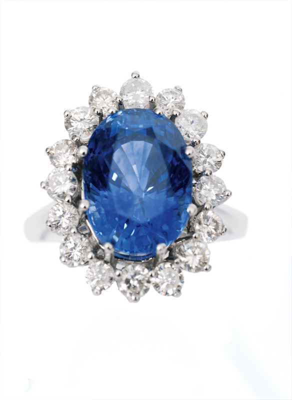 A high quality sapphire diamond ring