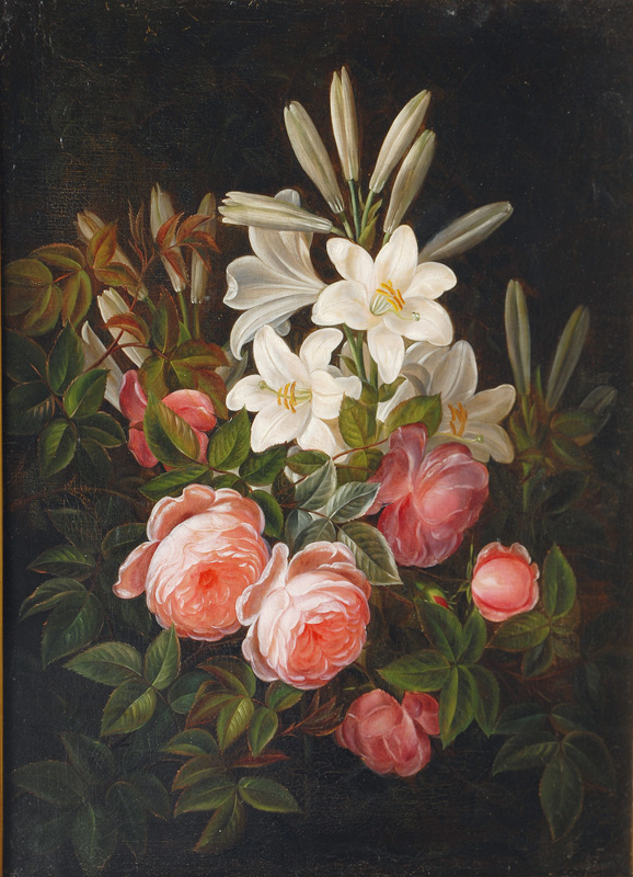 Floral Still Life with Roses and Lilies