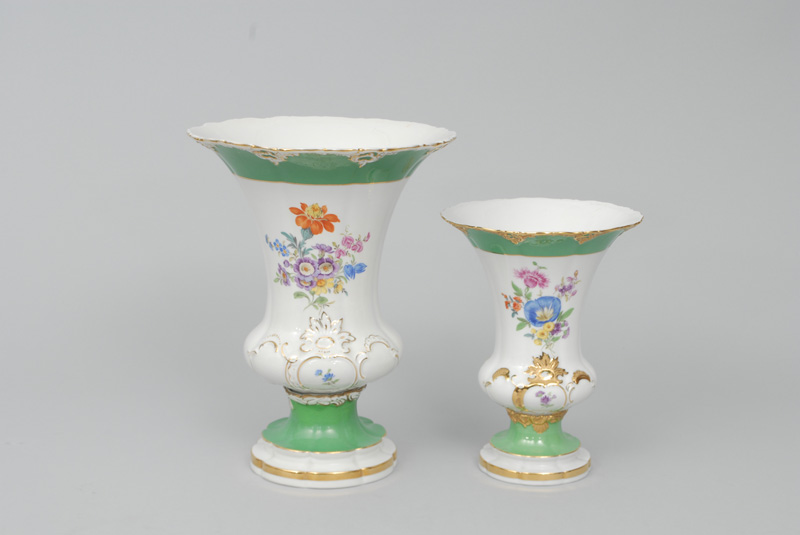 Two different high crater-shaped vases with flower painting