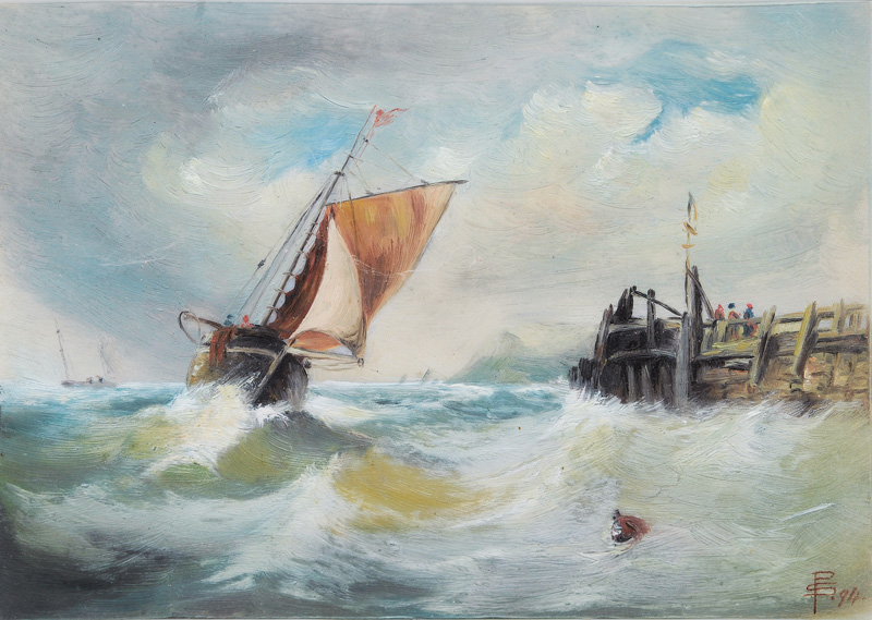 Fishing Boats on Rough Sea - Landscape with Windmill