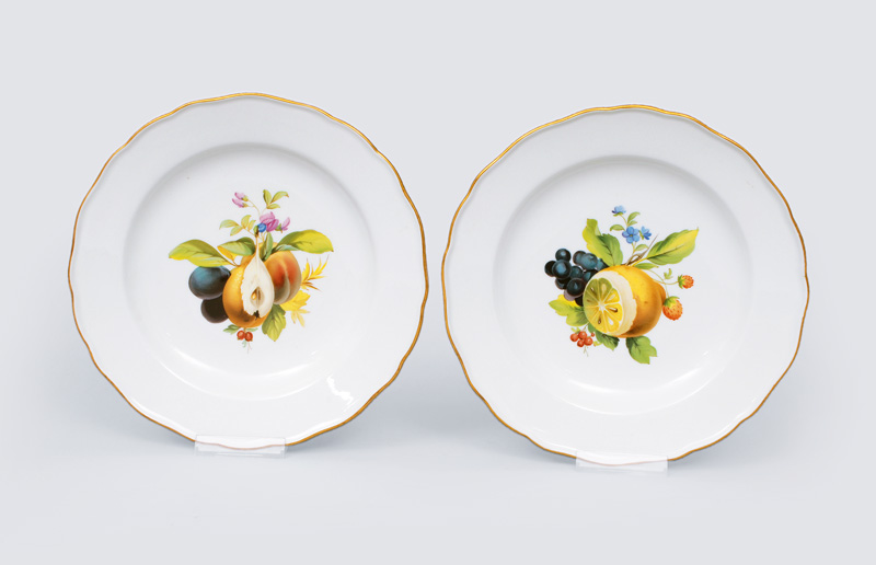 A pair plates with fruit painting and gilded rim