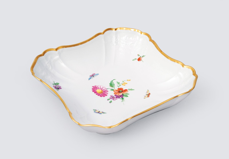 A square bowl with flower painting, relief decor and gold rim