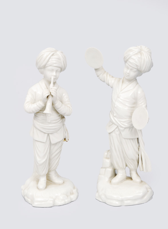 "A pair of figurines ""Oboe player"" and ""Cymbalist"" of the turkish band"