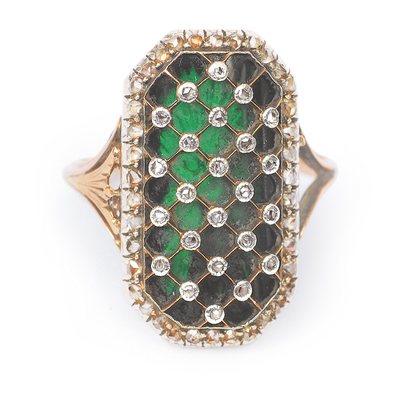 An Empire ring green enamel and diamonds