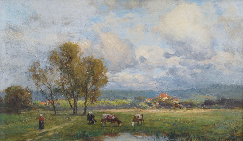 Young Woman and her Cattle on the Pasture