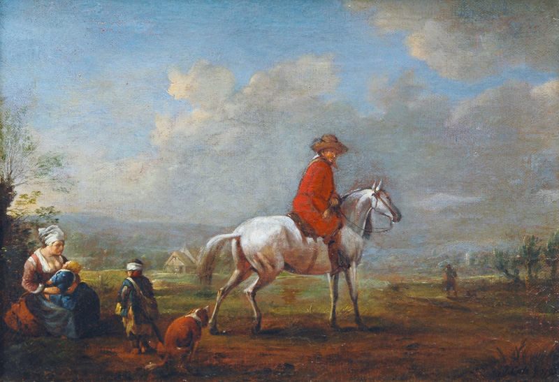 Grey Horse Rider with Young Woman and Children