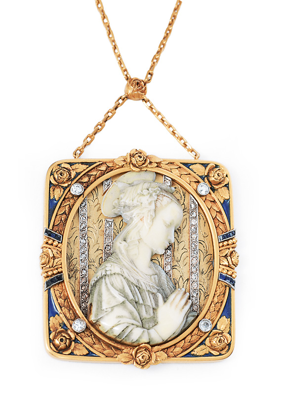 "An Art-Nouveau pendant with ivory engraving of the ""Madonna"" afte Filippo Lippi"