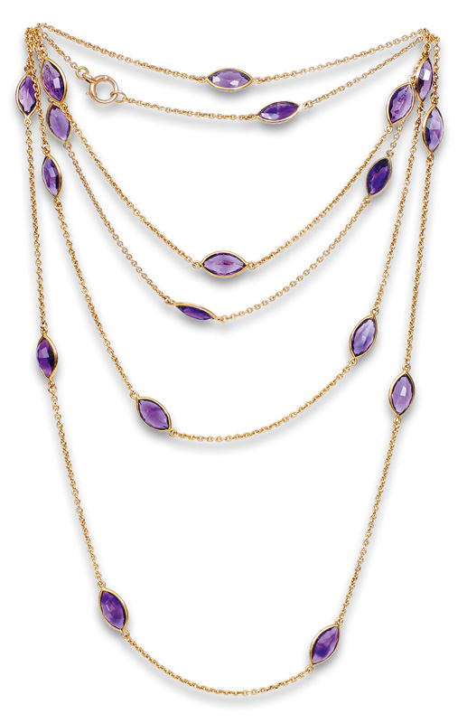 A long Victorian amethyst necklace