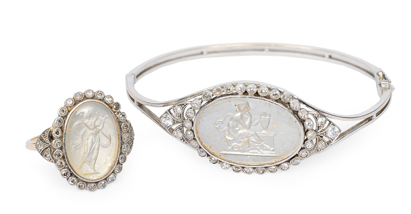 An Art deco bangle bracelet and ring with cameo and diamonds