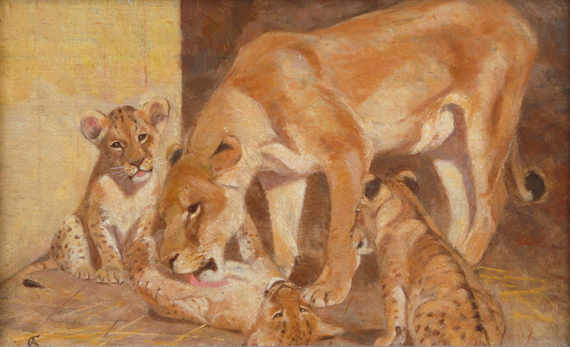 A Pair of Lion Paintings