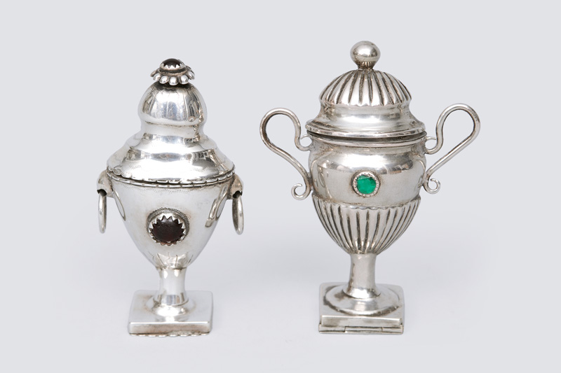Two small Empire fragrance jars in the shape of vases